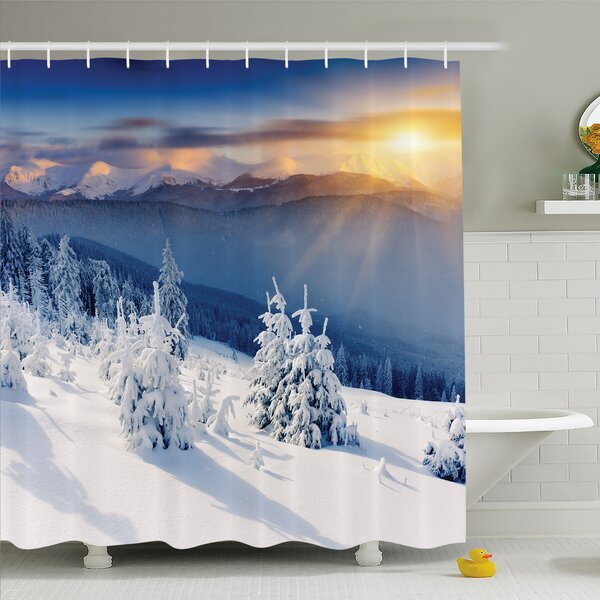Winter Fantastic Disappearance of Sunrise in Mountain Tops Dramatic Sky Alpine Shower Curtain Set by Ambesonne
