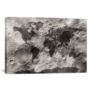 'World Map on the Moon's Surface' by Michael Tompsett Graphic Art on Canvas by iCanvas