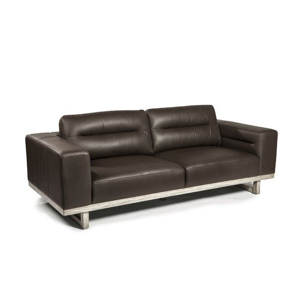 Ignazio Leather Sofa By 17 Stories Great price
