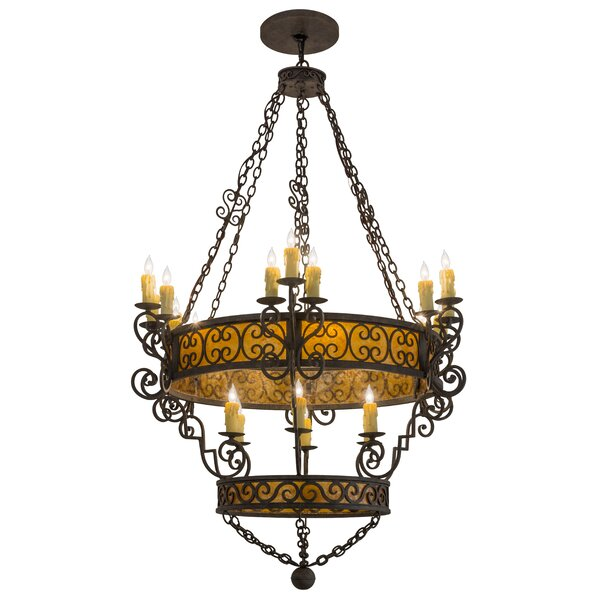 Wisbech 24 - Light Candle Style Wagon Wheel Chandelier By Astoria Grand