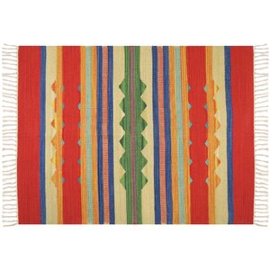 Hutcherson Hand-Woven Cotton Red/Green Area Rug
