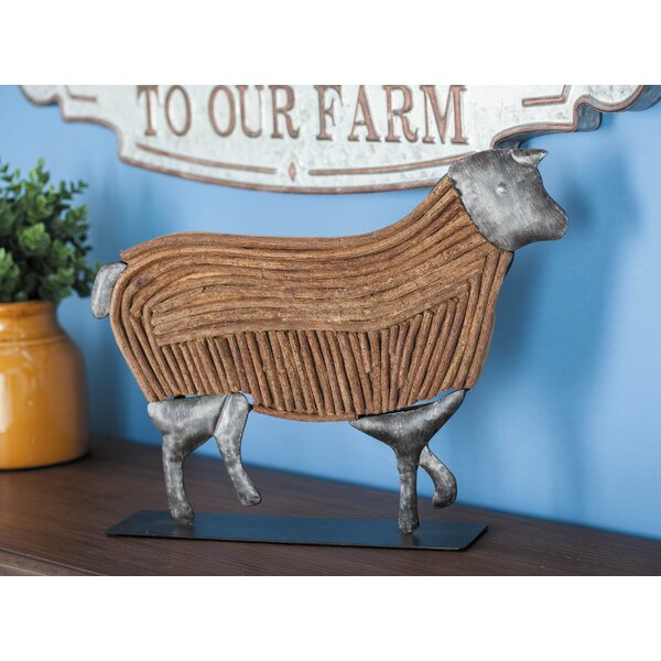 Metal/Wood Rattan Cow Figurine by Cole & Grey
