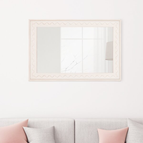 Dulcia Distressed Scallop Edge Wall Mounted Mirror by Gracie Oaks