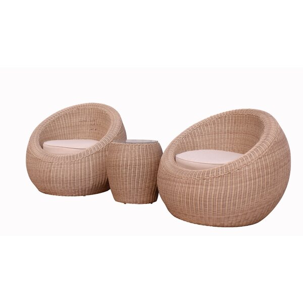 Anissa 3 Piece Seating Group with Cushions by Rosecliff Heights