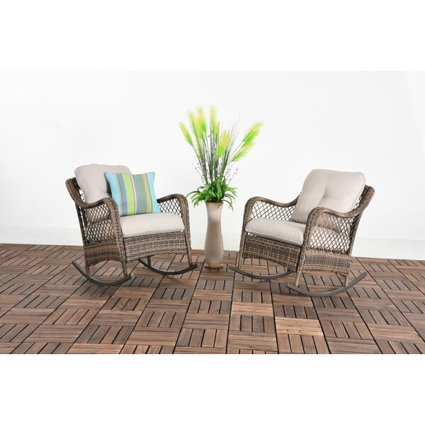 Ward Patio Wicker Rocking Chair with Cushions (Set of 2) by Bay Isle Home