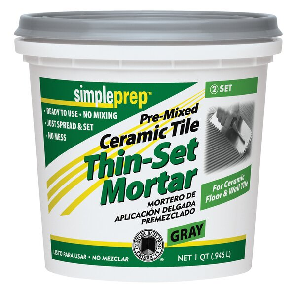 Pre Mixed Ceramic Tile Thin Set Mortar 1 Quart (Se