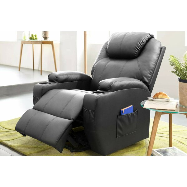 Electric Power Lift Assist Leather Reclining Massage Heated Chair [Red Barrel Studio]