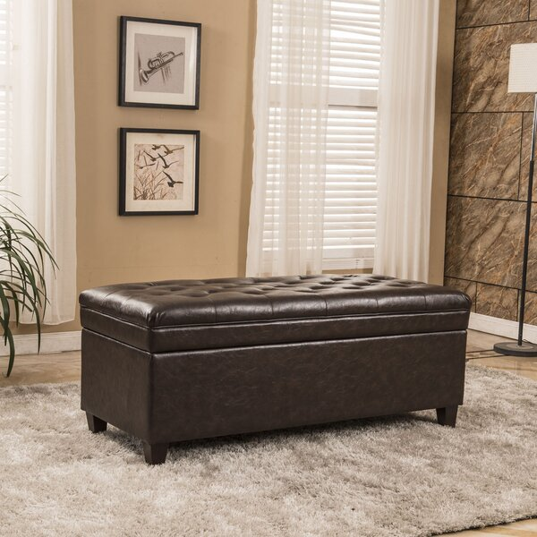 Classic Waxed Texture Dark Tufted Wood Storage Bench by Bellasario Collection