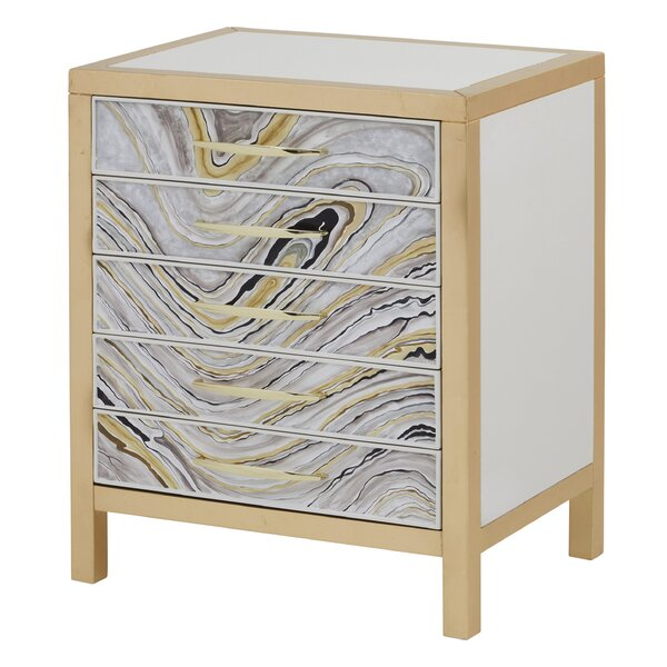 Adela Modern Hand-Painted 5 Drawer Nightstand by Mercer41