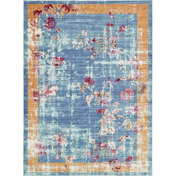 Center Blue Area Rug by Bungalow Rose