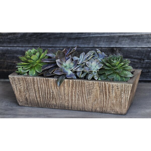 Ravishankar Square Tapered Aged Limestone Cast Stone Planter Box by Union Rustic