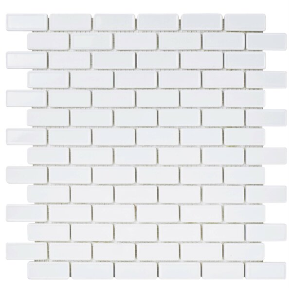 Esamo 11.75 x 12 Glass Mosaic Tile in White by EliteTile