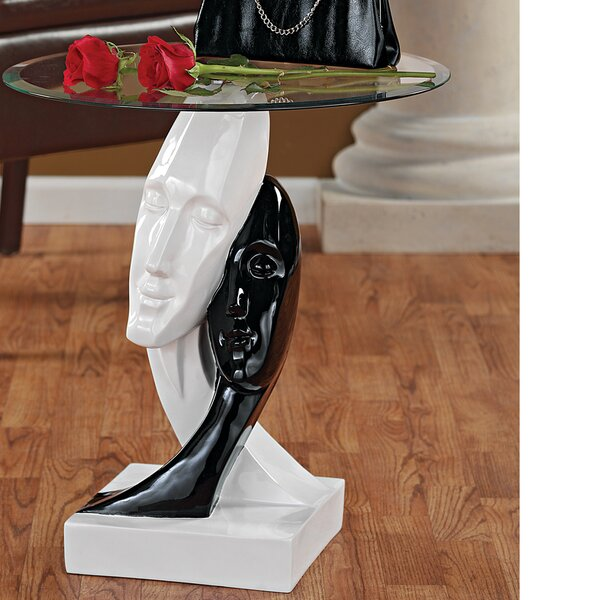 Lovers in Black and White Sculptural End Table by Design Toscano