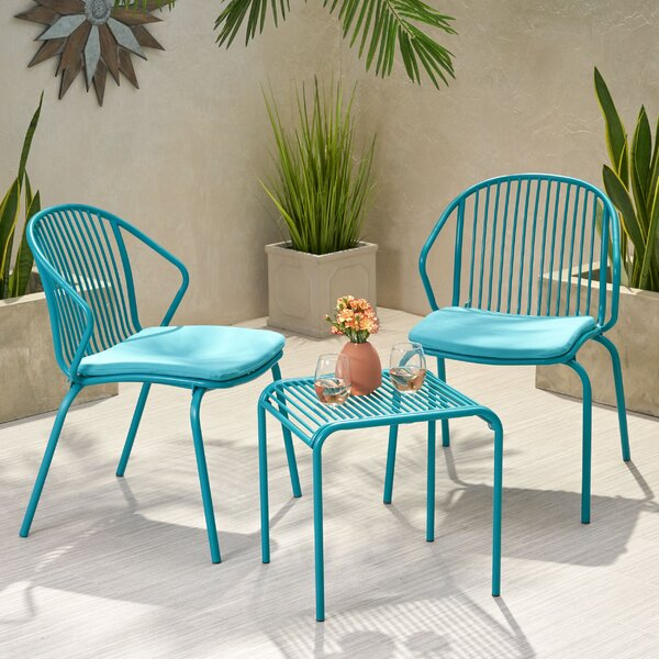Corbeil Outdoor Modern Iron 3 Piece Seating Group with Cushions by Ebern Designs