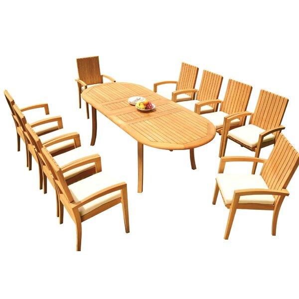 Weiss 11 Piece Teak Dining Set Bayou Breeze W001959892