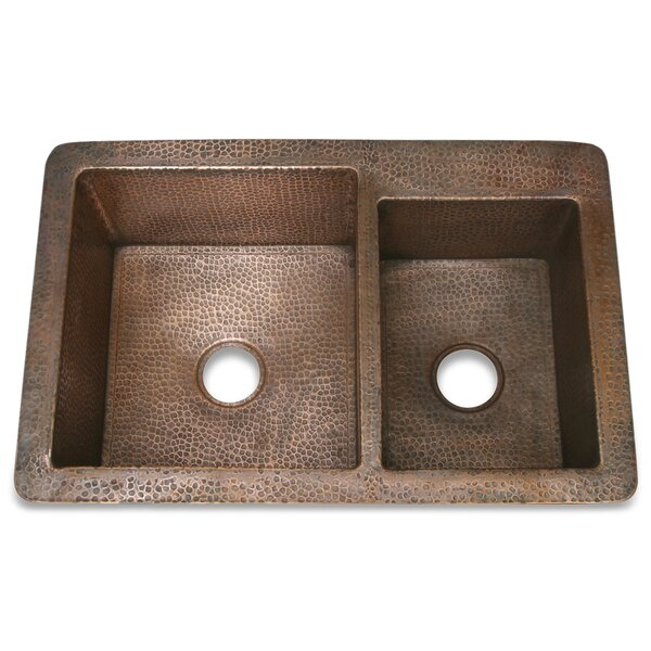 Copper 33 L x 22 W Hammered 60/40 Kitchen Sink