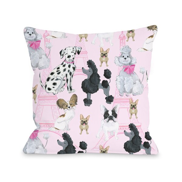 Dogs Eiffel Tower Throw Pillow by One Bella Casa
