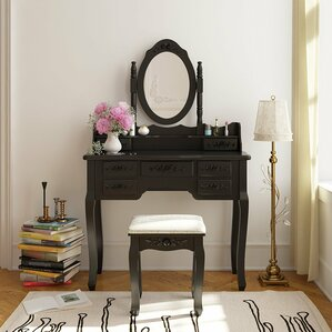 Saxton 7 Drawer Wood Vanity Set with Mirror by August Grove