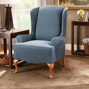 Stretch Stripe T-Cushion Wingback Slipcover