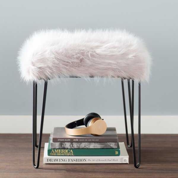 Arevalo Faux Fur Square Stool by Mercury Row