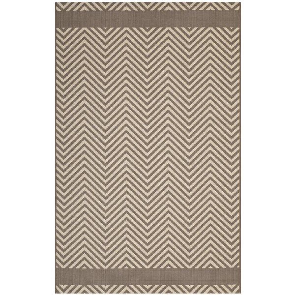 Electra Chevron Beige Indoor/Outdoor Area Rug by Wrought Studio