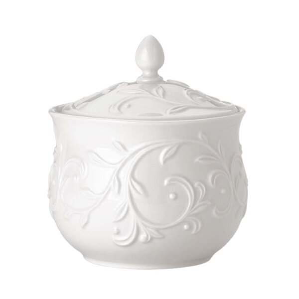 Opal Innocence Carved Sugar Bowl with Lid by Lenox