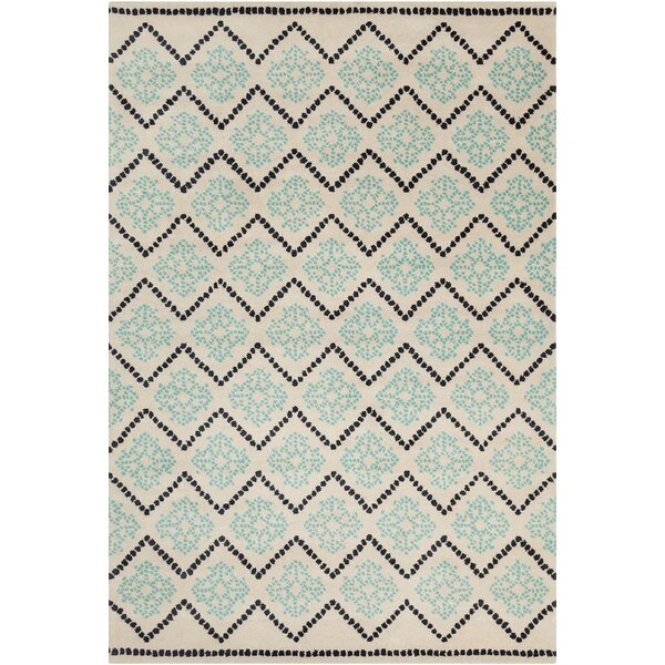 Jackeline Patterned Contemporary Wool Cream/Aqua Area Rug by Ebern Designs