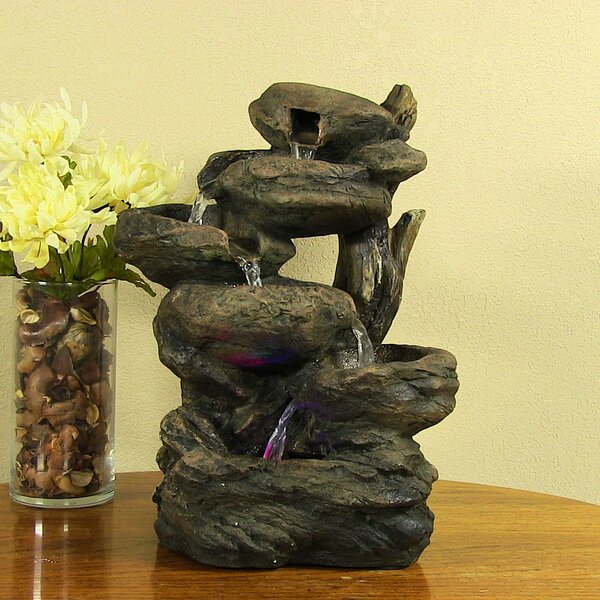 Resin Staggered Rock Falls Tabletop Fountain with Light by Wildon Home ®