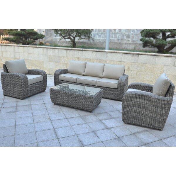Shondra 4 Piece Rattan Sofa Seating Group by Wrought Studio Wrought Studio