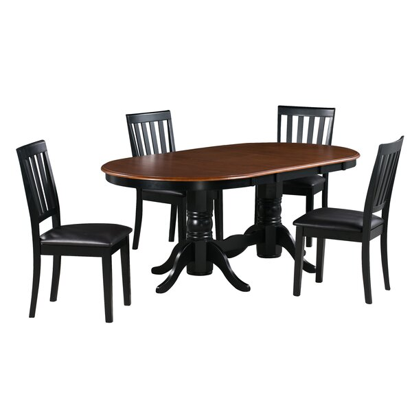 Andrea 5 Piece Extendable Solid Wood Dining Set by Alcott Hill