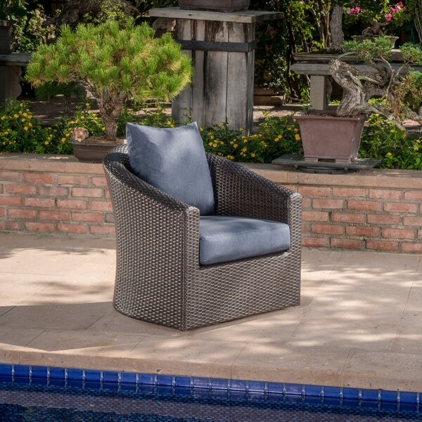 Dierdre Outdoor Wicker Swivel Patio Chair with Cushions by Red Barrel Studio