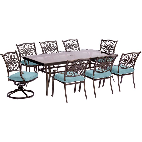 Lauritsen 9 Piece Rectangular Glass Top Dining Set with Cushions by Three Posts