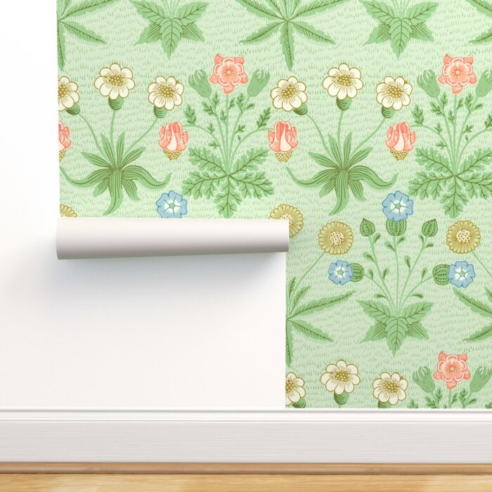 Victorian Floral Wallpaper Floral Morris Daisy Original Colours Green Floral Daisies Yellow Daisy Flowers Floral Art Nouveau Traditional