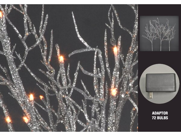 Glitter LED 72 Light Coral Branch by The Holiday Aisle
