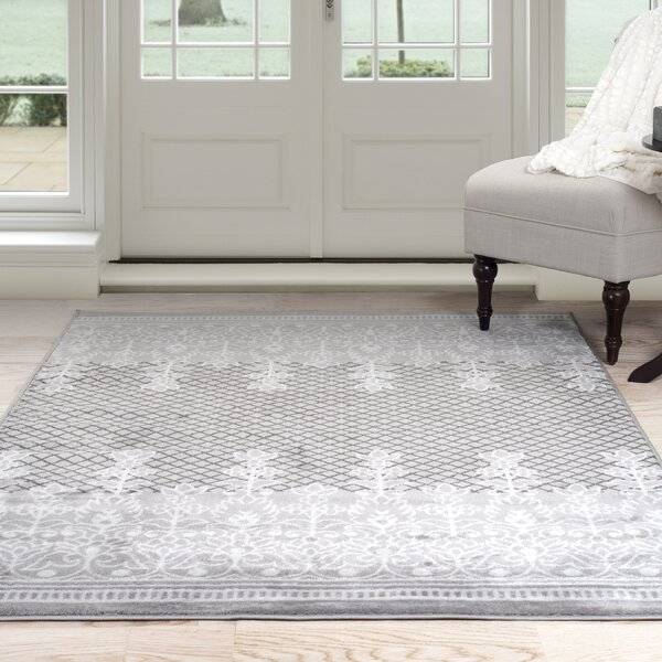 Royal Garden Gray/White Area Rug by Lavish Home