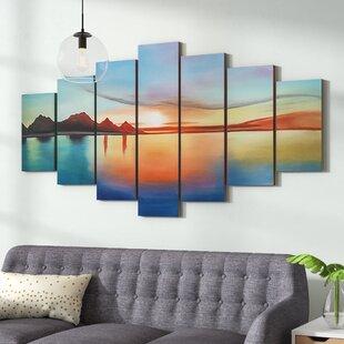 u0027Oversized Seascapeu0027 7 Piece Painting on Canvas Set & 7 Piece Wall Art   Wayfair