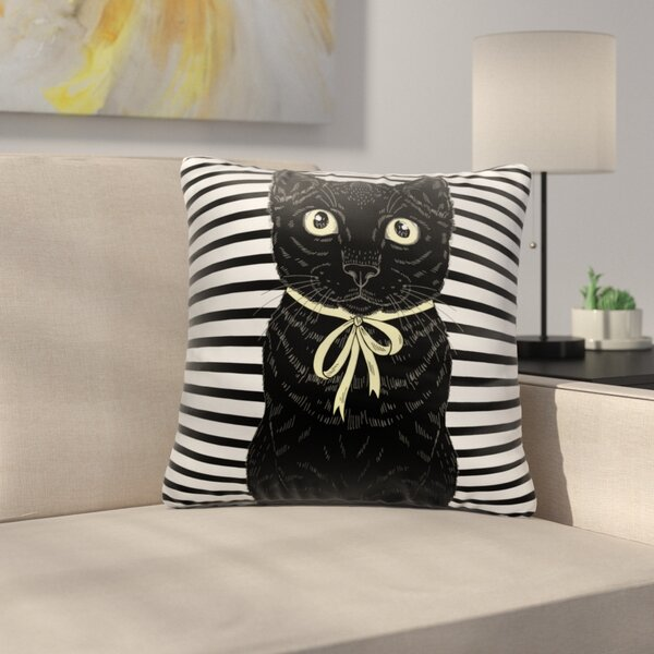 Bourland Black Cat Looking At You Throw Pillow by East Urban Home