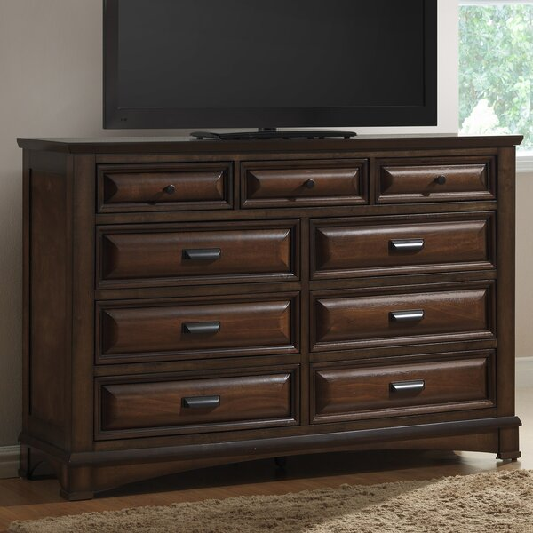 North Adams 9 Drawer Dresser with Mirror by Charlton Home