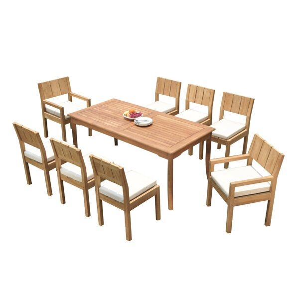 Gillette 9 Piece Teak Dining Set by Rosecliff Heights