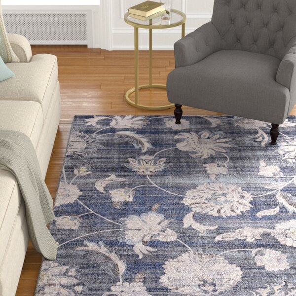 Reames Petals Navy Area Rug by Charlton Home