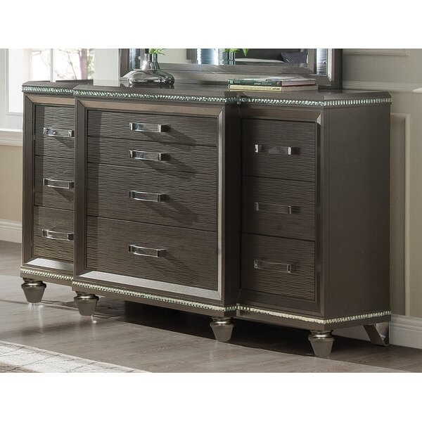 Sanabria 10 Drawer Double Dresser with Mirror by Everly Quinn