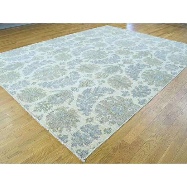 One-of-a-Kind Beaumont With Leaf Design Handwoven Ivory Wool Area Rug by Isabelline