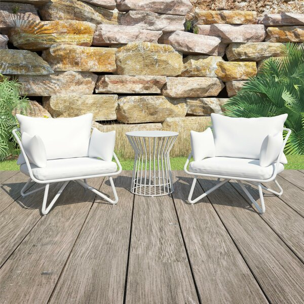 Teddi Outdoor 3 Piece Seating Group with Cushions by Novogratz