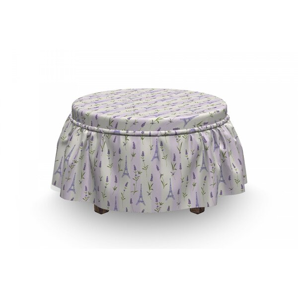 Paris Lavender Eiffel Pastel 2 Piece Box Cushion Ottoman Slipcover Set By East Urban Home