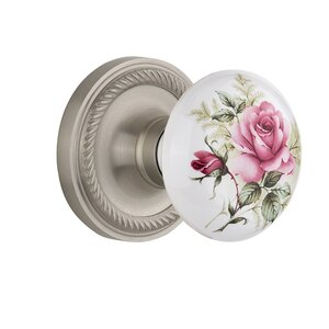 White Rose Porcelain Single Dummy Door Knob with Rope Rosette
