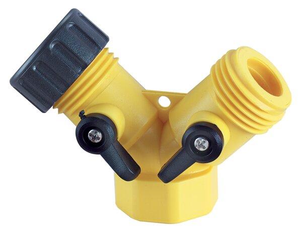 0.75 Y Hose Connector with Shutoff Lever by Waxman