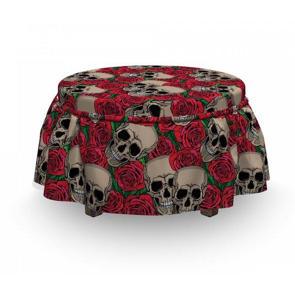 Rose Skulls Blossoms Retro 2 Piece Box Cushion Ottoman Slipcover Set By East Urban Home