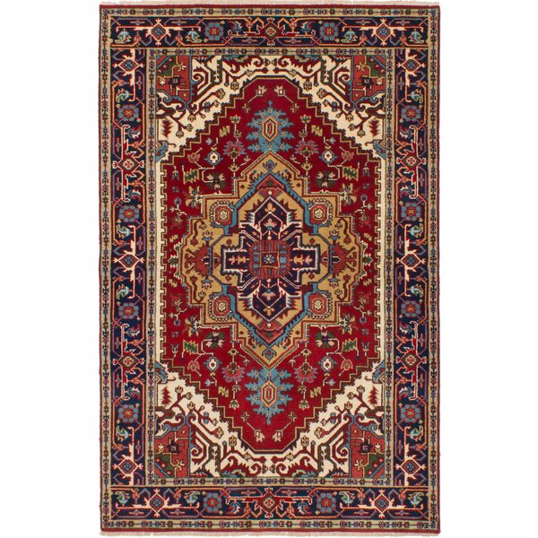 One-of-a-Kind Roselli Hand-Knotted Wool Red/Blue Area Rug by Bloomsbury Market