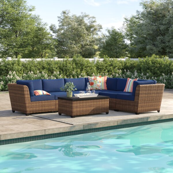 Waterbury 7 Piece Rattan Sectional Seating Group with Cushions by Sol 72 Outdoor