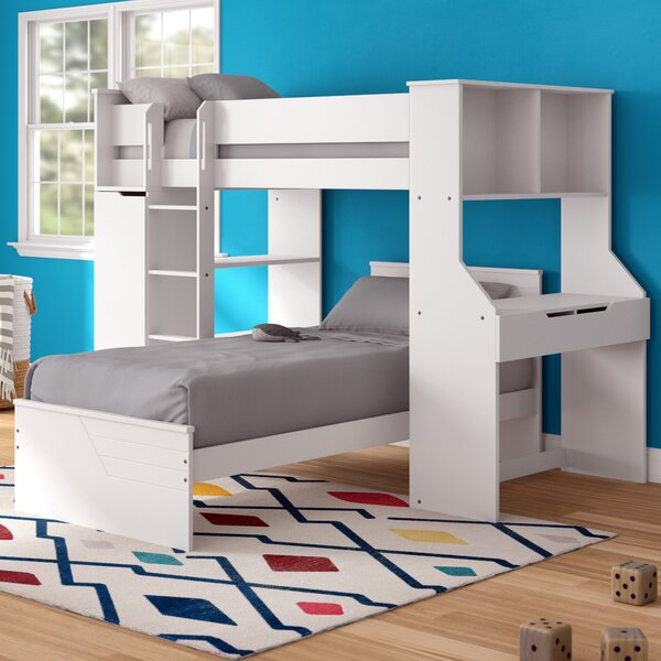 Facey Twin L-Shaped Bunk Bed with Bookcase and Drawers by Mack & Milo